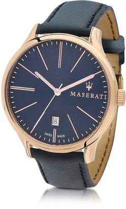 Maserati Attrazione Gold Tone Stainless Steel Case and Navy Blue Leather Strap Men's Crono Watch