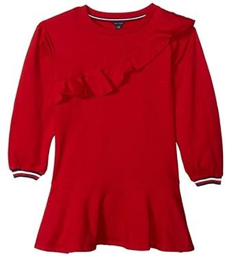 Tommy Hilfiger Ruffle Long Sleeve Sweatshirt Dress (Big Kids)