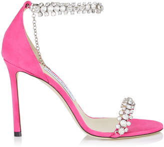 Jimmy Choo SHILOH 100 Hot Pink Suede Open Toe Sandal with Jewel Trim