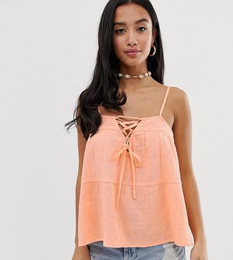ASOS DESIGN Petite lattice front cami in casual fabric sun top in neon