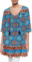 Tolani Devina Tie-Neck Printed Tunic/Dress, Blue