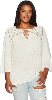 Lucky Brand Women's Plus Size Lace Mix Peasant Top