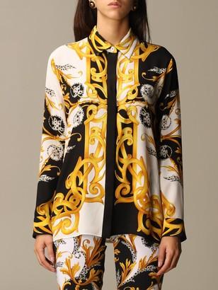 Versace Silk Shirt With Baroque Print