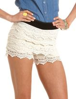 Charlotte Russe Tiered Crochet Lace Short
