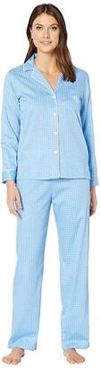 Lauren Ralph Lauren Cotton Rayon Sateen Woven Long Sleeve Pointed Notch Collar Long Pants Pajama Set (Blue Dot) Women's Pajama Sets