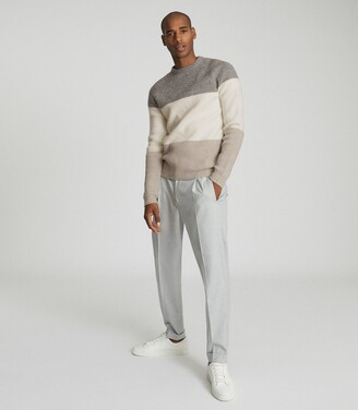 Reiss Connor - Colour Block Jumper in Grey/ecru