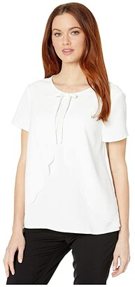 CeCe Short Sleeve Scalloped Moss Crepe Blouse with Bow (Soft Ecru) Women's Clothing