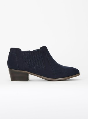 Evans EXTRA WIDE FIT Navy Blue Elastic Side Ankle Boots
