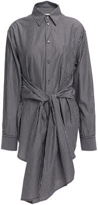 MM6 MAISON MARGIELA Lace-up Striped Cotton-poplin Shirt