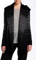 Vince Striped Wool Blend Hooded Cardigan
