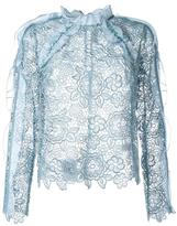 Self-Portrait lace sheer blouse - women - Polyester - 8