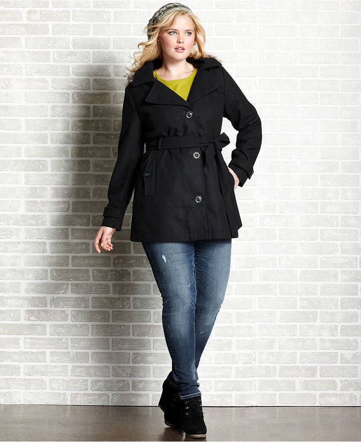 Dollhouse Plus Size Coat, Faux Fur Hood Single-Breasted Belted