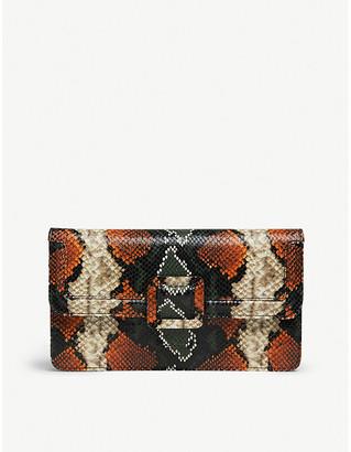 LK Bennett Beth snakeskin-print leather clutch