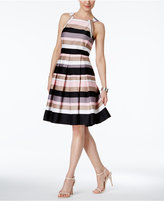 Nine West Striped Pleated Halter Dress