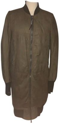 Isaac Sellam Khaki Leather Coat for Women