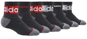 adidas Big Boys Blocked Linear Ii Quarter Sock Pack of 6