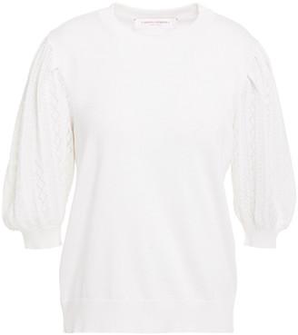 Carolina Herrera Paneled Pointelle-knit Silk And Cotton-blend Top