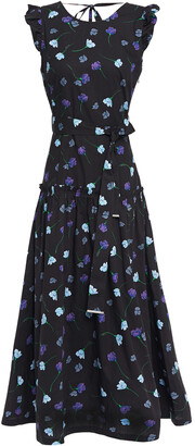 Markus Lupfer Ruffled Floral-print Cotton-poplin Midi Dress