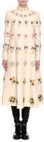 Valentino Floral-Embroidered Crepe Couture Dress