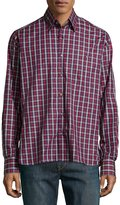Ike Behar Check Sport Shirt, Red/Blue
