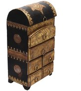 Radha Krishna Shop Beautiful Handmade Vertical Six Drawer Wooden Box with Brass Work