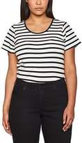 Zizzi Women's O10676A T-Shirt, Mehrfarbig (Vanilla Ice w Black 1105)