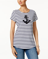 Charter Club Petite Striped Anchor Graphic Top, Only at Macy's