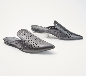 Marc Fisher Perforated Pointed-Toe Mules - Adriana