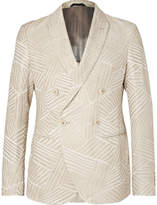 Giorgio Armani - Cream Ginza Double-breasted Jacquard Blazer