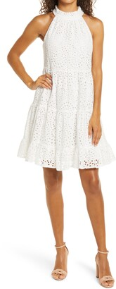 Brinker & Eliza Eyelet Tiered Halter Dress