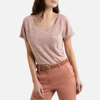 Anne Weyburn Striped Linen T-Shirt with Crew-Neck and Short Sleeves