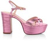 Schutz Darilia Ribbed Metallic Leather Platform Sandals