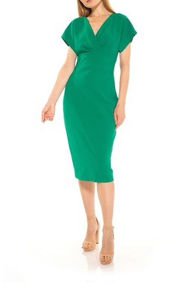 Alexia Admor Naomi Drape Surplice Neck Sheath Dress