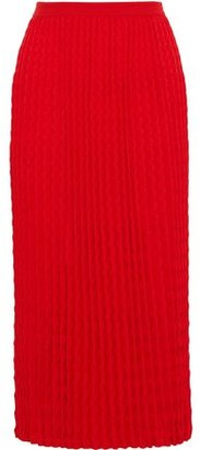 Victoria Beckham Plisse Wool Midi Skirt