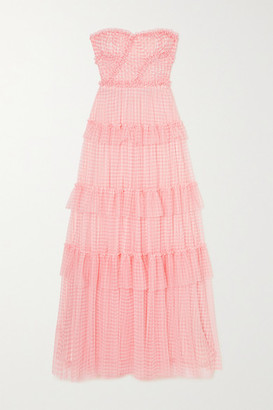 Needle & Thread Caroline Strapless Ruffled Tiered Gingham Tulle Gown - Pink