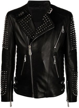 Philipp Plein Zipped Studded Biker Jacket