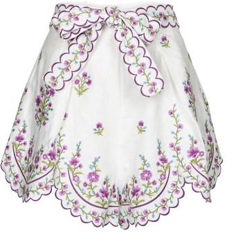 Zimmermann Poppy embroidered linen shorts
