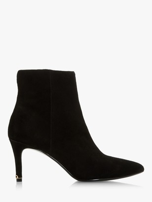 Dune Obsessive Pointed Toe Suede Ankle Boots, Black