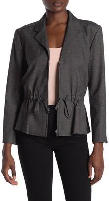 Rachel Roy Houndstooth Zip Front Peplum Jacket