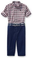 Ralph Lauren Poplin Tartan Shirt & Pants Set, Red Pattern, Size 9-24 Months