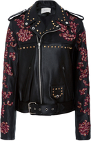 Rodarte Lace Embroidered Leather Jacket