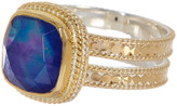 Anna Beck 18K Gold Plated Sterling Silver Cushion Cut Lapis Double Band Ring
