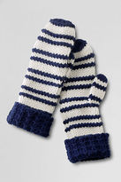 Lands' End Women's Raised Stripe Cashmere Blend Mittens