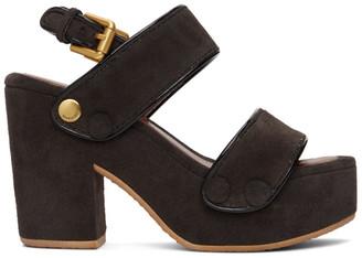 See by Chloe Brown Suede Galy Heeled Sandals