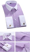 French Cufflinks Classic Business Striped Shirt