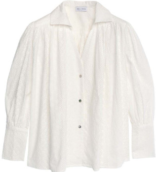 Weili Zheng - White Sangallo Lace Fluid Shirt - xs