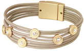 Saachi Taupe Faux Leather Multi-Strand Crystal Station Bracelet