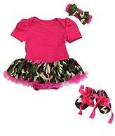 Ameda Baby Camouflage Camo Romper Bodysuit Tutu Pink