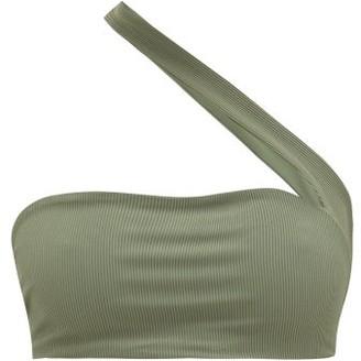JADE SWIM Halo One-shoulder Bikini Top - Womens - Dark Green