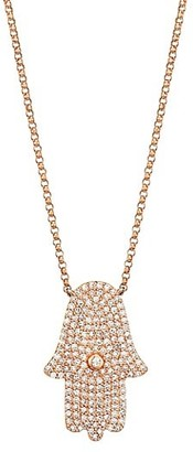 Nina Gilin 14K Rose Gold & Diamond Hamsa Pendant Necklace